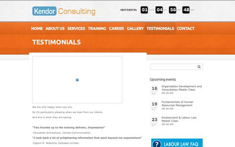 Screenshot of Testimonials Page kendorconsulting.com - TESTIMONIALS     Kendor Consulting   Human Resources Consulting & Training - captured Oct. 15, 2018