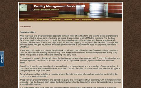 Screenshot of Testimonials Page webs.com - Testimonials - Facility Management Services UK - captured Sept. 13, 2014
