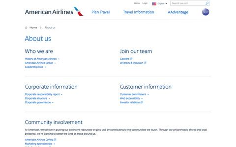 Screenshot of About Page aa.com - About us − Customer service − American Airlines - captured June 28, 2016