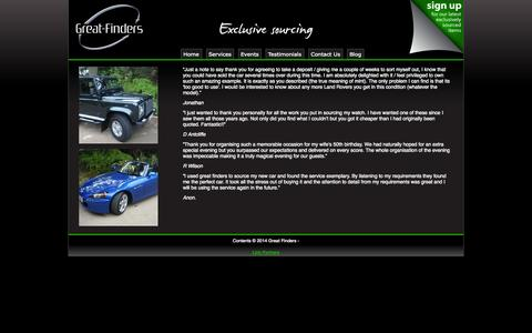 Screenshot of Testimonials Page great-finders.co.uk - Testimonials from satisfied customers - captured Oct. 3, 2014