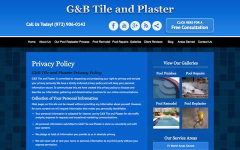 Screenshot of Privacy Page poolsub.com - Privacy Policy, G&B Tile and Plaster - captured Nov. 1, 2014