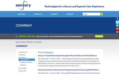 Screenshot of sensory.com - Press Releases | Sensory - captured March 19, 2016