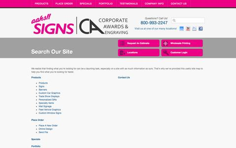 Screenshot of Site Map Page aahssigns.com - Aahs Signs Los Angeles California Sign Company, LA Digital Graphics, CA - captured Oct. 4, 2014
