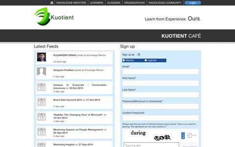 Screenshot of Signup Page kuotient.com - Kuotient - Collaborate | Inspire | Evolve - Kuotient Cafe - captured Sept. 30, 2014