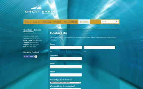 Screenshot of Contact Page gbscience.com - Contact Us - Great Basin Corporation - captured Sept. 16, 2014