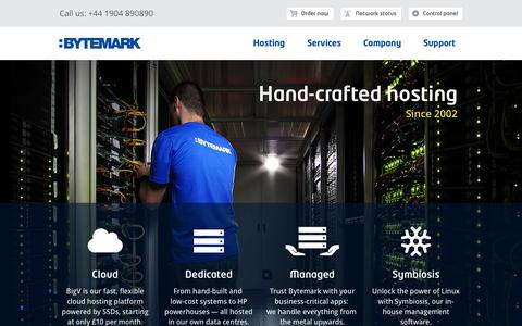 Screenshot of Home Page bytemark.co.uk - Hand-crafted hosting | Bytemark - captured Jan. 24, 2015