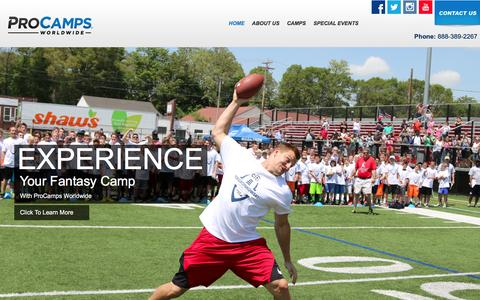 Screenshot of Home Page procamps.com - Welcome to ProCamps - the Nationwide Leader in Youth Sports Camps - captured Jan. 30, 2016