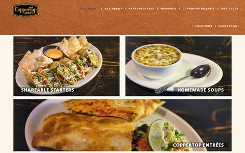 Screenshot of Menu Page coppertoptavern.com - Our Menu | CopperTop Tavern - captured Sept. 25, 2018