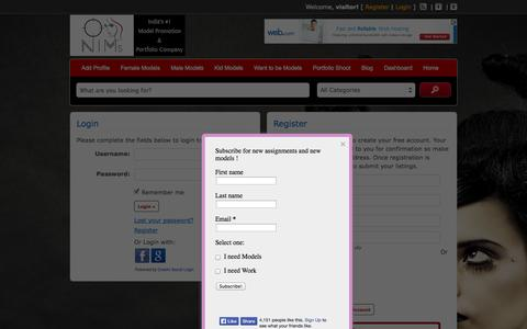 Screenshot of Login Page newindianmodels.com - Login - NIMs - NewIndianModels - captured Oct. 7, 2014