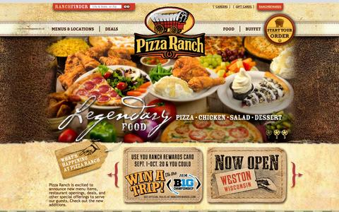 Screenshot of Home Page pizzaranch.com - Home of Legendary Pizza, Chicken, Salad, and Buffet | Pizza Ranch - captured Sept. 19, 2014