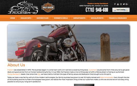 Screenshot of About Page fraziersharleydavidson.com - Dealership Information   Frazier's Harley-Davidson®   Buford Georgia - captured June 6, 2017