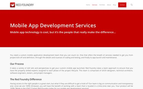 Screenshot of Services Page redfoundry.com - Mobile App Development Services | Chicago Mobile App Service - captured July 4, 2016
