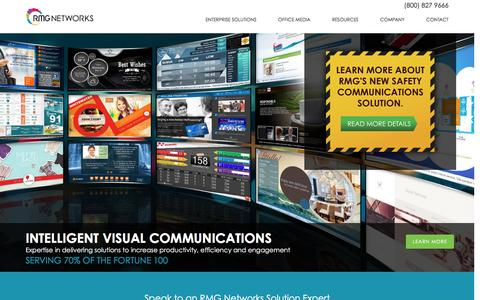 Screenshot of Home Page rmgnetworks.com - Digital Signage & Visual Communications Solutions / Software - captured Dec. 15, 2015