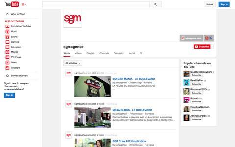 Screenshot of YouTube Page youtube.com - sgmagence  - YouTube - captured Oct. 23, 2014