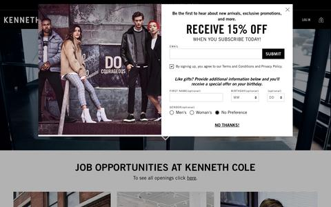 Screenshot of Jobs Page kennethcole.com - Careers @ Kenneth Cole | Kenneth Cole - captured Feb. 5, 2019