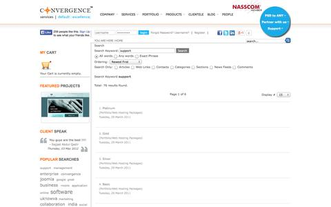 Screenshot of Support Page convergenceservices.in - Search - captured Sept. 23, 2014