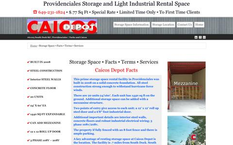 Screenshot of Services Page Terms Page providencialesstorage.com - Storage Space ▪ Facts ▪ Terms ▪ Services ▪ Caicos Depot Providenciales - captured Oct. 1, 2014