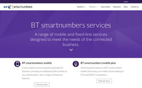 Screenshot of Products Page btsmartnumbers.com - Products - BT smartnumbers - captured Aug. 1, 2018