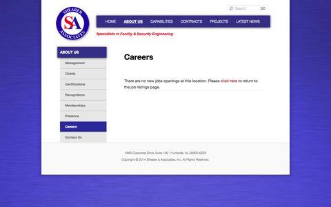 Screenshot of Jobs Page shearerassociates.us - Careers | Shearer & Associates, Inc. - captured Sept. 26, 2014