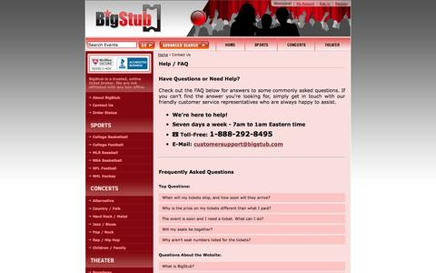Screenshot of Contact Page FAQ Page bigstub.com - BigStub - Contact Us | Frequently Asked Questions - captured Nov. 3, 2014