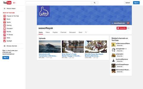 Screenshot of YouTube Page youtube.com - seawolfkayak  - YouTube - captured Oct. 23, 2014