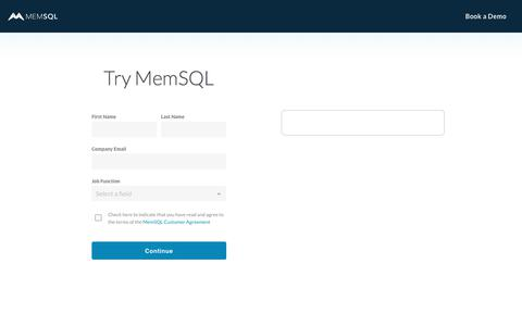 Screenshot of Trial Page memsql.com - Try MemSQL Developer Edition - captured April 27, 2018