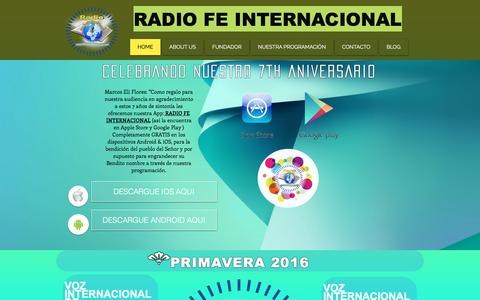 Screenshot of Home Page radiofeinternacional.com - |Radio Fe Internacional| Brentwood, NY. |www.radiofeinternacional.com - captured June 11, 2016