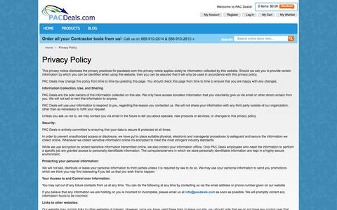 Screenshot of Privacy Page pacdeals.com - Privacy Policy - captured Sept. 26, 2014