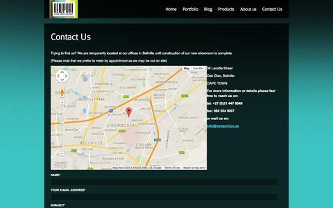 Screenshot of Contact Page newport.co.za - Newport Lighting   Contact Us - captured Oct. 26, 2014