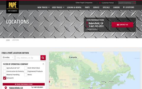 Screenshot of Contact Page Locations Page papekenworth.com - Our Locations | Papé Kenworth - captured Nov. 28, 2018