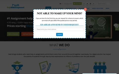 Screenshot of Home Page helpwithassignment.com - Assignment Help   Help with Assignment   College Homework Help - captured Aug. 3, 2017