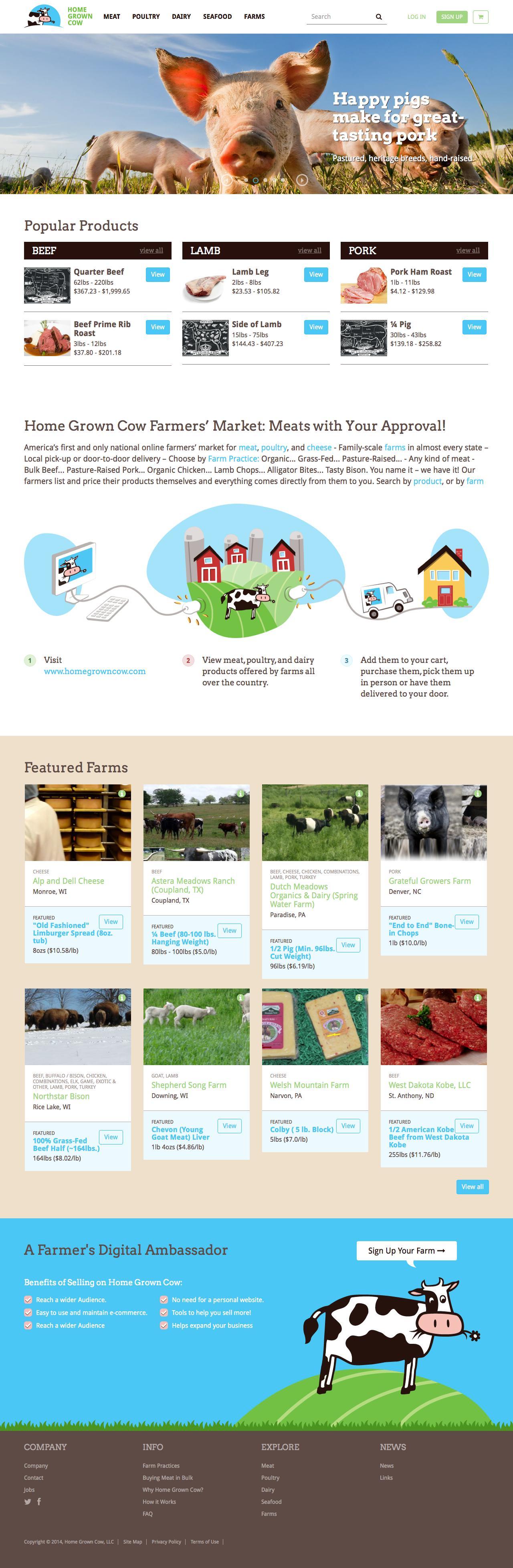 Screenshot of homegrowncow.com - Home Grown Cow - America's Favorite Online Farmers' Market - captured Oct. 11, 2014