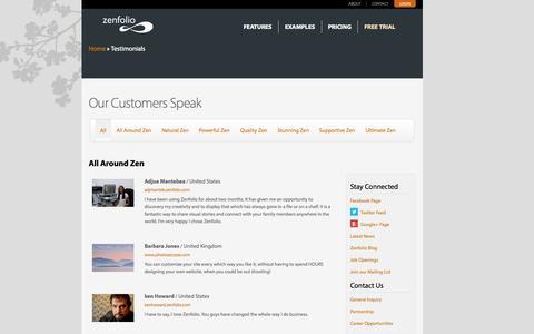 Screenshot of Testimonials Page zenfolio.com - Testimonials | Zenfolio - captured Sept. 12, 2014