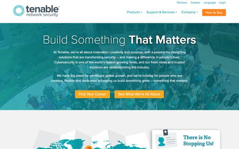 Screenshot of Jobs Page tenable.com - Careers | Tenable Network Security - captured Oct. 24, 2016