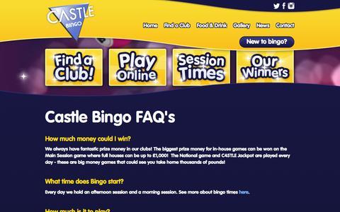 Screenshot of FAQ Page castlebingo.co.uk - Castle Bingo FAQs - captured Oct. 2, 2014