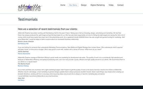 Screenshot of Testimonials Page abbervillecreative.co.uk - Abberville Creative -Testimonials - captured Sept. 30, 2014