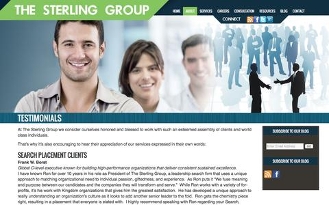 Screenshot of Testimonials Page sterlinggroup.com - Testimonials | Sterling Group - captured Feb. 28, 2016
