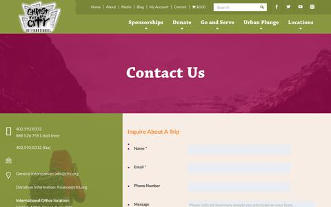Screenshot of Contact Page cfci.org - Contact - Christ for the City International - captured July 29, 2017