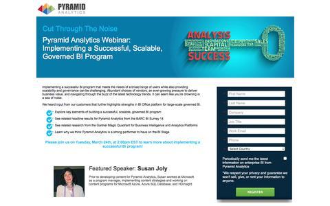 Screenshot of Landing Page pyramidanalytics.com - BI Project Success - Webinar Series - Pyramid Analytics - LP - captured July 10, 2016