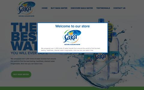 Screenshot of Home Page sakawater.com.au - Saka Natural Alkaline Mineral Water - captured Sept. 30, 2014