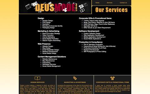 Screenshot of Services Page deusmode.com - Deusmode Studios - Services - captured Oct. 5, 2014