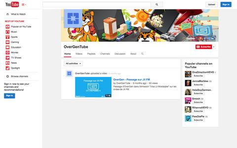 Screenshot of YouTube Page youtube.com - OverGenTube  - YouTube - captured Oct. 26, 2014