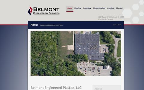 Screenshot of About Page beplastics.com - About Belmont Engineered Plastics - captured Oct. 5, 2014