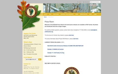 Screenshot of Press Page nedsmithcenter.org - Press Room | Ned Smith Center for Nature and Art - captured Oct. 9, 2014