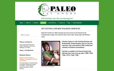 Screenshot of Services Page paleopetgoods.com - Paleo Pet Goods, LLC (formerly Pride Purr-fect), Natural and Organic Pet Foods for Dogs and Cats, Pet Sitting Services, Dog Walking, In-Home Pet Care - captured Jan. 24, 2016