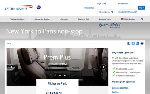 New York to Paris flights | OpenSkies | British Airways