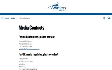 Screenshot of Press Page affinion.com - Media Contacts – Affinion Group - captured Feb. 21, 2016