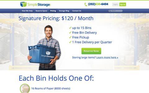 Screenshot of Pricing Page simplestorage.com - Storage Plan Pricing - Simple Storage - captured Oct. 26, 2014