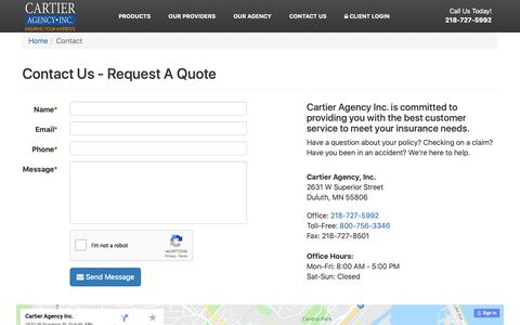 Screenshot of Contact Page caduluth.com - Contact Us - Request A Quote   Cartier Agency, Inc. - captured Sept. 27, 2018