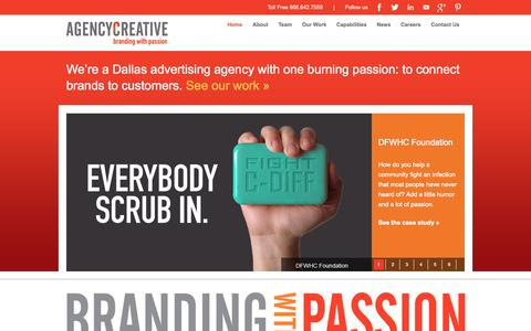 Screenshot of Home Page agencycreative.com - Dallas Advertising Agencies   Agency Creative - captured Sept. 19, 2014
